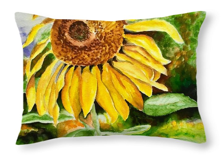 Sunflower. Yellow Throw Pillow featuring the painting Sunflower by Judy Swerlick