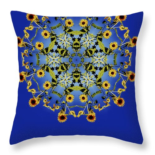 Mandala Throw Pillow featuring the photograph Sunflower Mandala by Nancy Griswold