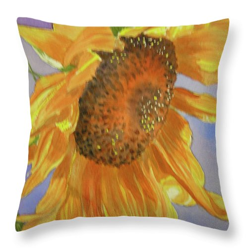 Sunflower Throw Pillow featuring the painting Sunflower by Midge Pippel