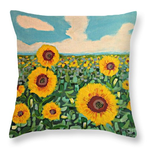 Sunflowers Throw Pillow featuring the painting Sunflower Serendipity by Mary Mirabal