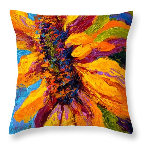 Sunflowers Throw Pillow featuring the painting Sunflower Solo II by Marion Rose