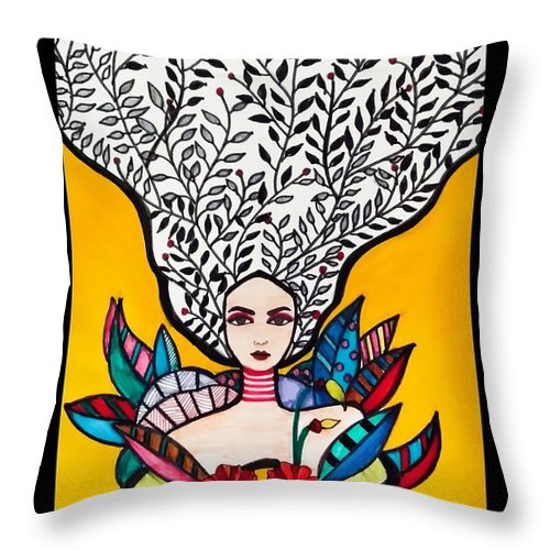 Poster Throw Pillow featuring the painting Sunflower Soul by Madhurima Mukherjee