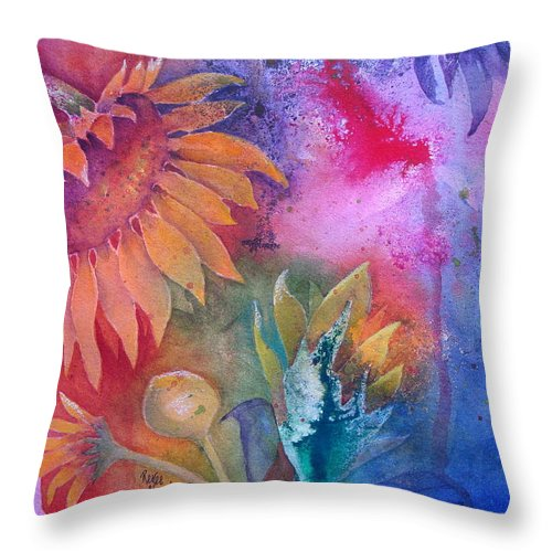Sunflower Throw Pillow featuring the painting Sunflower Splash by Renee Chastant
