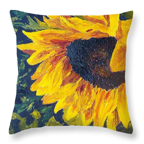 Throw Pillow featuring the painting Sunflower by Tami Booher