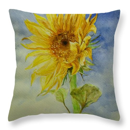 Sunflower Throw Pillow featuring the painting Sunflower Tribute To Van Gogh by Lizzy Forrester