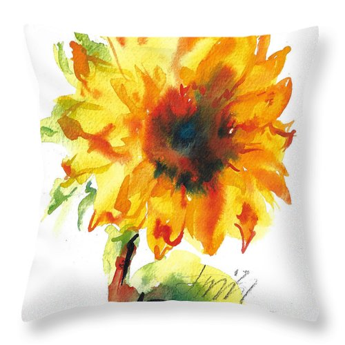 Floral Throw Pillow featuring the painting Sunflower With Blues by Jacki Kellum