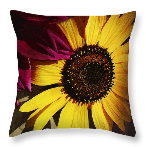 Flower Throw Pillow featuring the photograph Sunflower With Dahlia by Ed A Gage