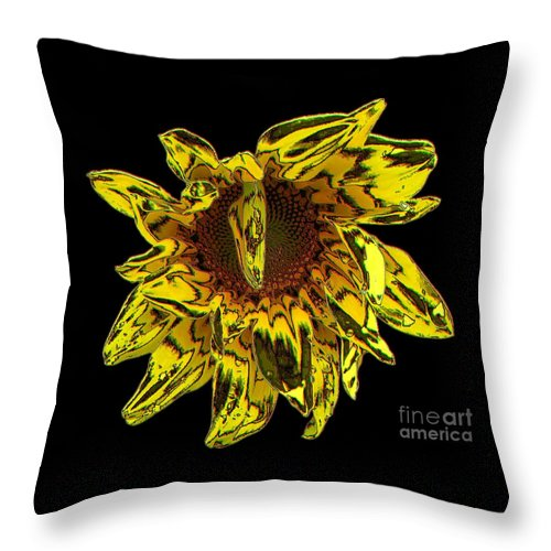 Sunflowers Throw Pillow featuring the photograph Sunflower With Stone Effect by Rose Santuci-Sofranko
