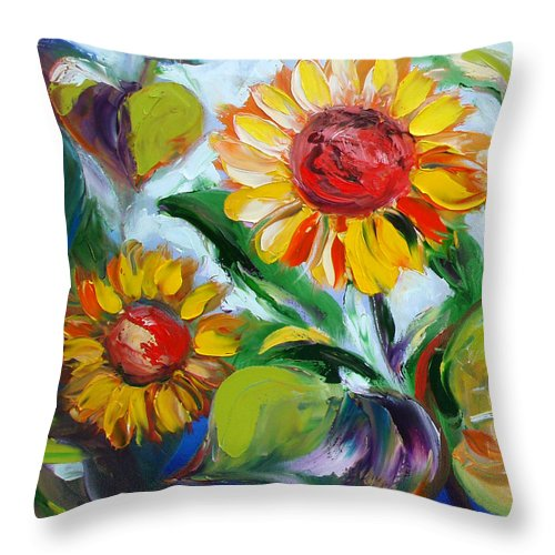 Flowers Throw Pillow featuring the painting Sunflowers 10 by Gina De Gorna