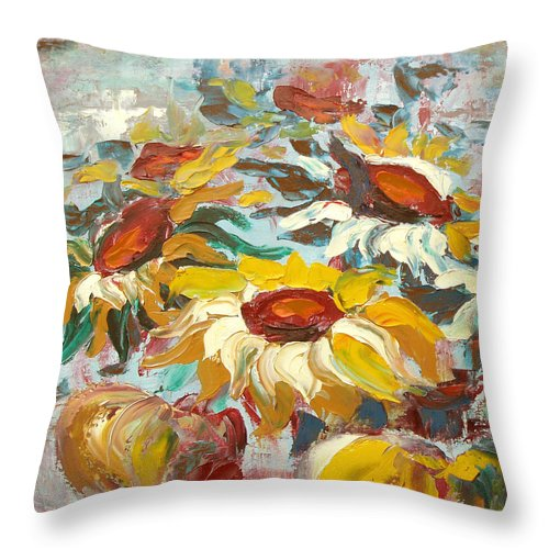 Sunflowers Throw Pillow featuring the painting Sunflowers 13 by Gina De Gorna