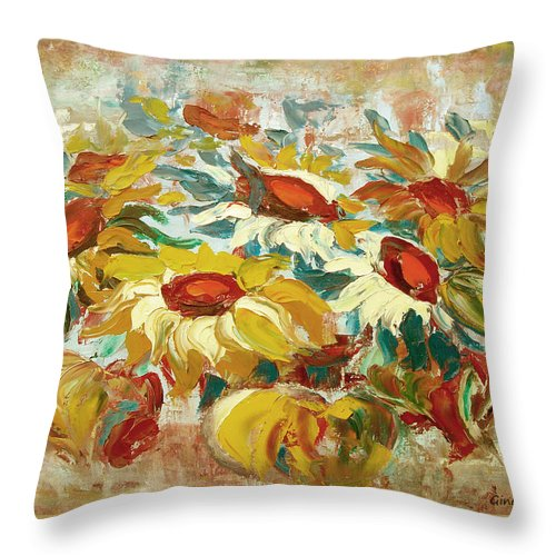 Sunflowers Throw Pillow featuring the painting Sunflowers 15 by Gina De Gorna