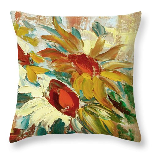 Sunflower Throw Pillow featuring the painting Sunflowers 16 by Gina De Gorna
