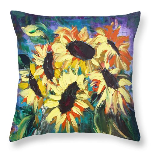 Sunflowers Throw Pillow featuring the painting Sunflowers 2 by Gina De Gorna