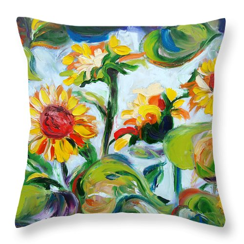 Sunflowers Throw Pillow featuring the painting Sunflowers 3 by Gina De Gorna