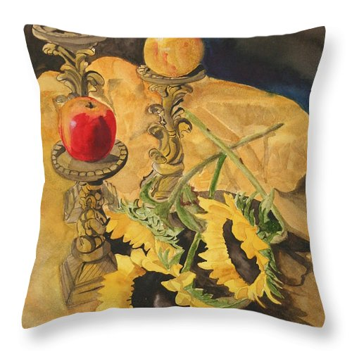 Still Life Throw Pillow featuring the painting Sunflowers And Apples by Jean Blackmer