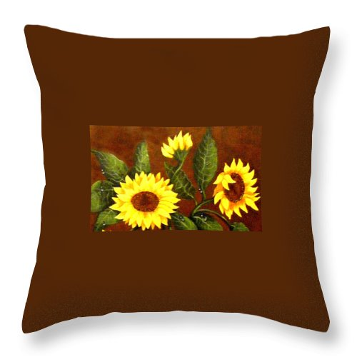 Sunflowers And Dewdrops Throw Pillow featuring the painting Sunflowers And Dewdrops by Barbara Griffin
