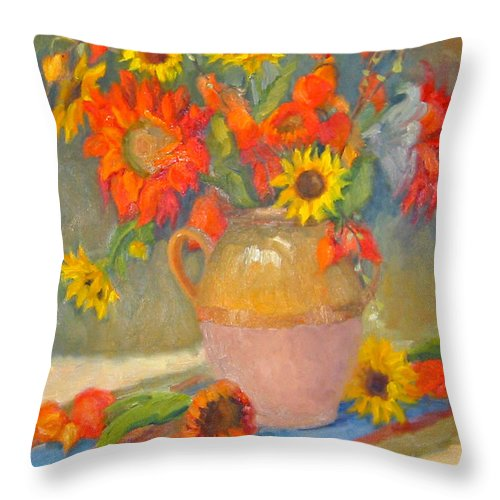Sunflowers Throw Pillow featuring the painting Sunflowers and More by Bunny Oliver