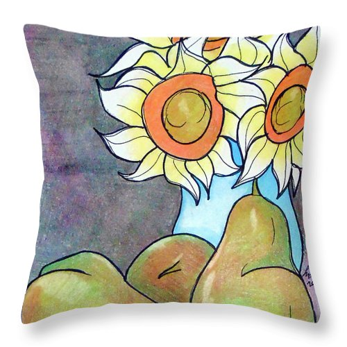 Sunflowers Throw Pillow featuring the drawing Sunflowers And Pears by Loretta Nash