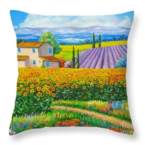 Jean Marc Janiaczyk Throw Pillow featuring the painting Sunflowers by Elena Yalcin
