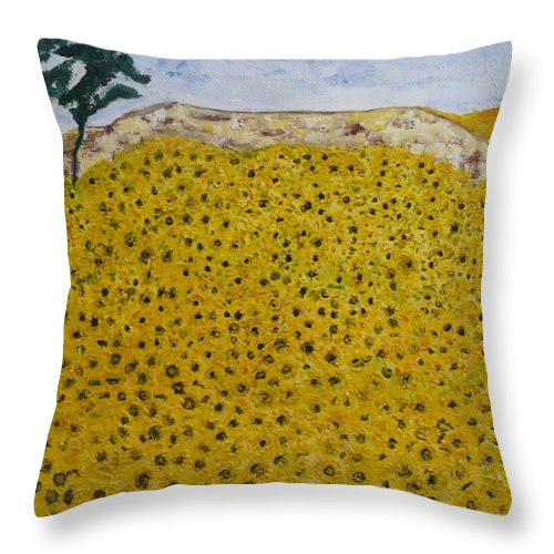 Blue Sky Of The Midi. Throw Pillow featuring the painting Sunflowers Field 1998. by Corinne de la garrigue