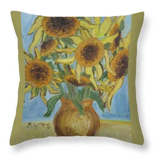 Flowers Throw Pillow featuring the painting Sunflowers II. by Agnes V