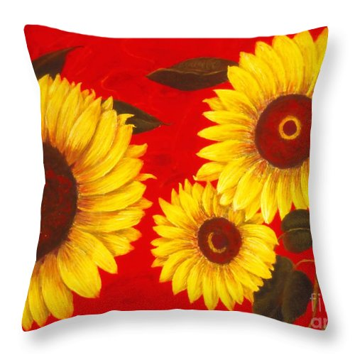 Flowers Throw Pillow featuring the painting Sunflowers III by Mary Erbert