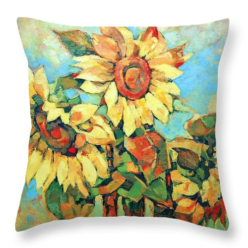 Sunflowers Throw Pillow featuring the painting Sunflowers by Iliyan Bozhanov