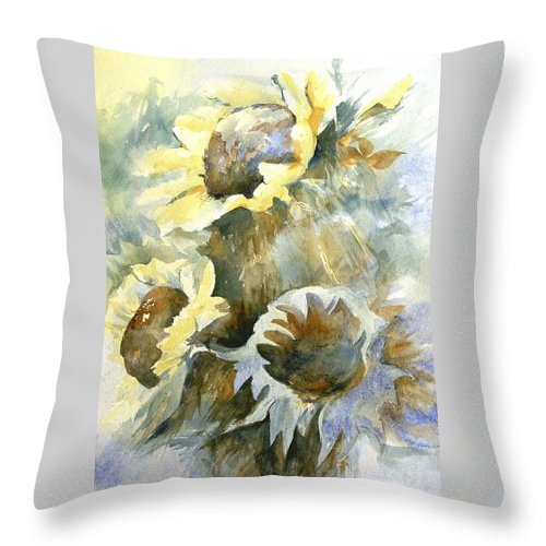 Sunflower Painting Throw Pillow featuring the painting Sunflowers Ill by Madeleine Holzberg