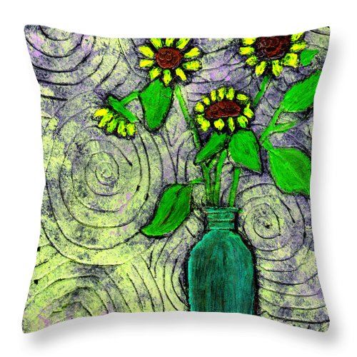 Sunflowers Throw Pillow featuring the painting Sunflowers In A Green Vase by Wayne Potrafka