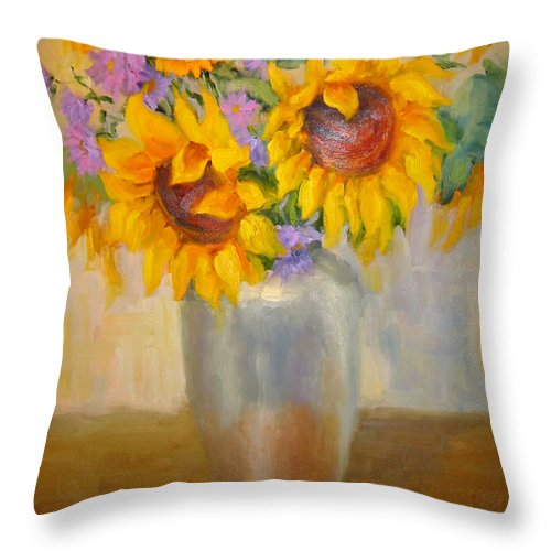 Sunflowers Throw Pillow featuring the painting Sunflowers In A Silver Vase by Bunny Oliver