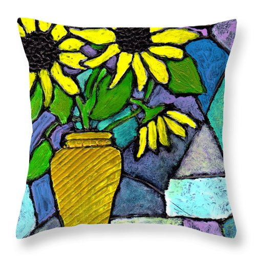 Flowers Throw Pillow featuring the painting Sunflowers In A Vase by Wayne Potrafka