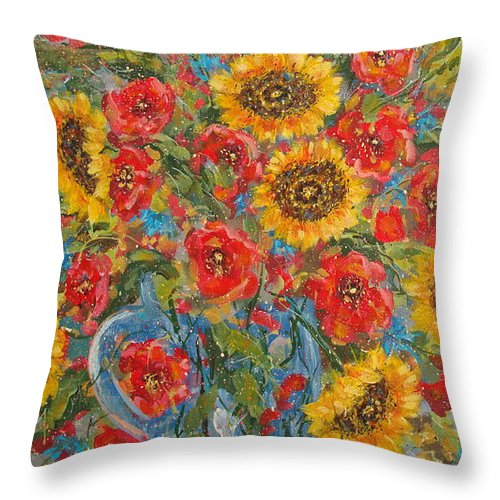 Flowers Throw Pillow featuring the painting Sunflowers In Blue Pitcher. by Leonard Holland
