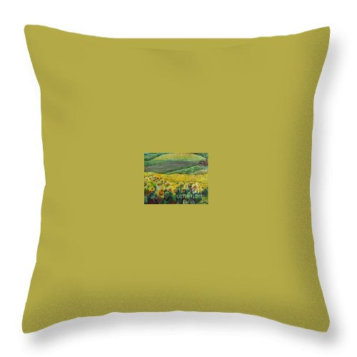 A Field Of Yellow Sunflowers Throw Pillow featuring the painting Sunflowers In Provence by Nadine Rippelmeyer
