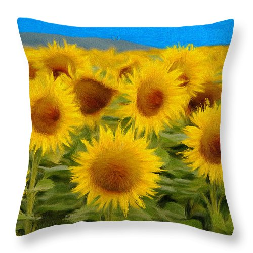 Sunflower Throw Pillow featuring the painting Sunflowers In The Field by Jeffrey Kolker