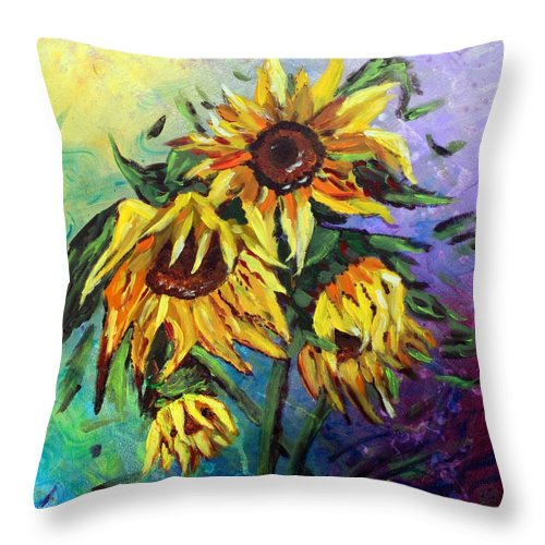Art Throw Pillow featuring the painting Sunflowers In The Rain by Luiza Vizoli