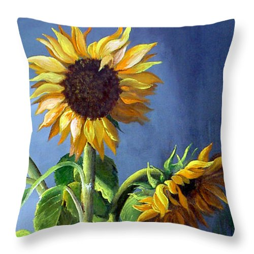 Sunflowers Throw Pillow featuring the painting Sunflowers In Vase by Dominica Alcantara
