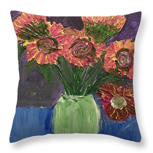 Sunflowers Throw Pillow featuring the painting Sunflowers In Vase by Joshua Redman