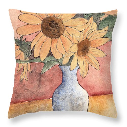 Sunflower Throw Pillow featuring the painting Sunflowers In Vase Sketch by Ken Powers