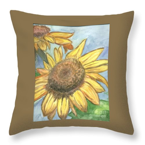 Daisy Throw Pillow featuring the painting Sunflowers by Jacqueline Athmann