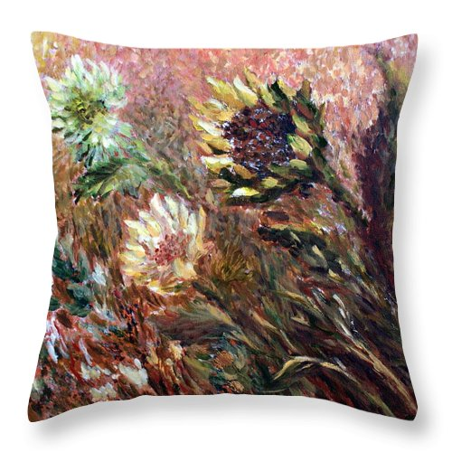 Sunflowers Throw Pillow featuring the painting Sunflowers by Joanne Smoley