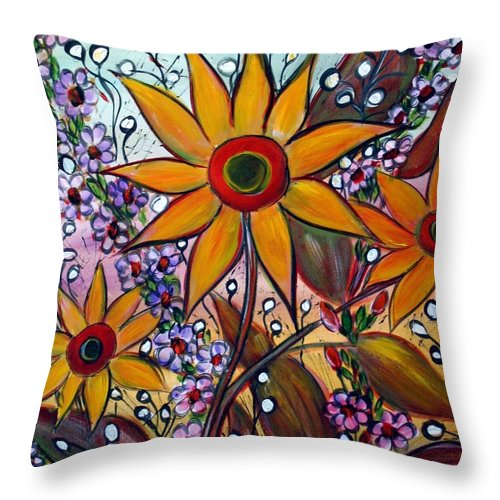 Flowers Throw Pillow featuring the painting Sunflowers by Luiza Vizoli