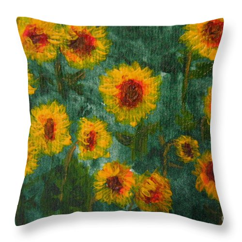 Acrylic Throw Pillow featuring the painting Sunflowers by Lynne Reichhart