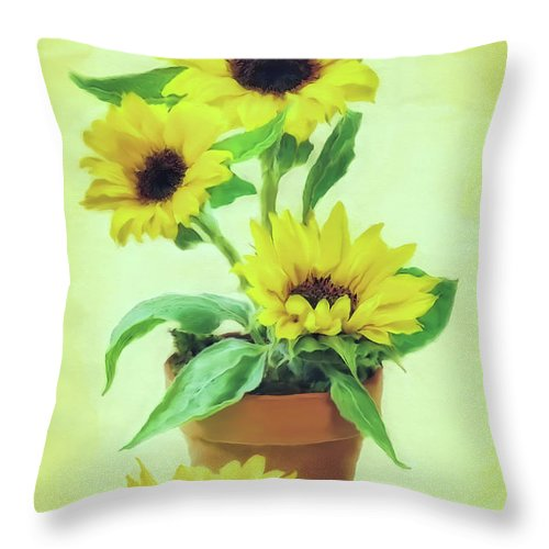 Sunflowers Throw Pillow featuring the mixed media Sunflowers by Olga Hamilton