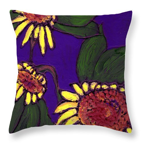 Sunflowers Throw Pillow featuring the painting Sunflowers On Purple by Wayne Potrafka