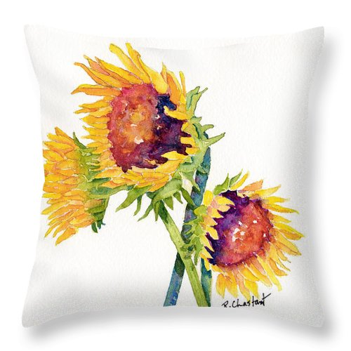 Sunflower Throw Pillow featuring the painting Sunflowers On White by Renee Chastant