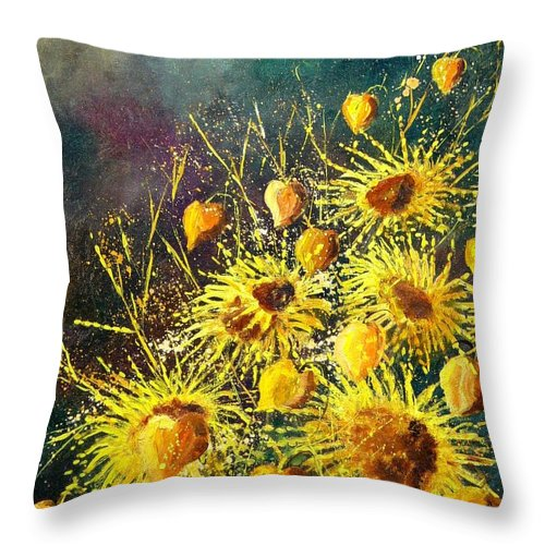 Flowers Throw Pillow featuring the painting Sunflowers by Pol Ledent