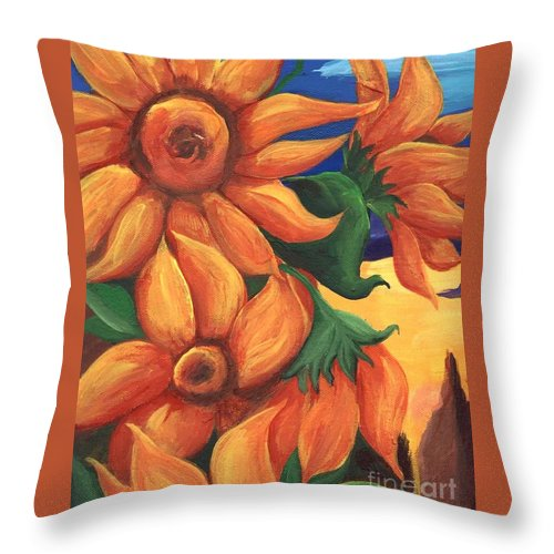 Sunflowers Throw Pillow featuring the painting Sunflowers by Sidra Myers