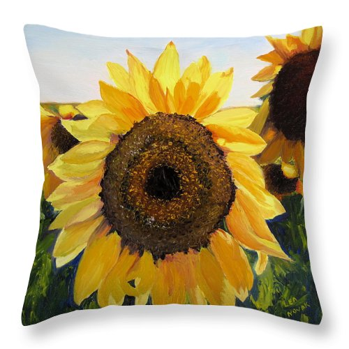 Sunflower Throw Pillow featuring the painting Sunflowers Squared by Lea Novak