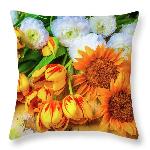 Mood Throw Pillow featuring the photograph Sunflowers Tulips by Garry Gay