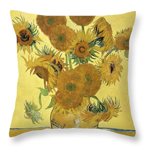 Sunflowers Throw Pillow featuring the painting Sunflowers, 1888 by Vincent Van Gogh
